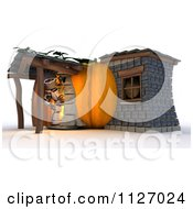 Clipart Of A 3d Robot At A Pumpkin Cottage House Royalty Free CGI Illustration