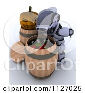 Clipart Of A 3d Halloween Robot Bobbing For Apples And Eyeballs Royalty Free CGI Illustration