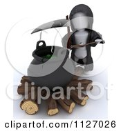 Clipart Of A 3d Grim Reaper By A Cauldron Of Eyeballs On Firewood Royalty Free CGI Illustration