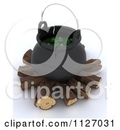 Clipart Of A 3d Witch Cauldron With Eyeballs On Firewood Royalty Free CGI Illustration