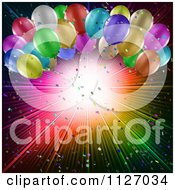 Clipart Of A Party Background Of Colorful Balloons And A Burst With Confetti Royalty Free Vector Illustration