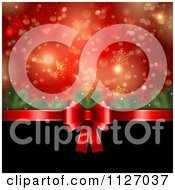 Bokeh Tree Branch And Snowflake Christmas Background With A Red Bow And Black Copyspace