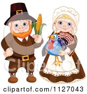Cartoon Of A Happy Pilgrim Man Holding Corn And Woman Holding A Thanksgiving Turkey Bird Royalty Free Vector Clipart