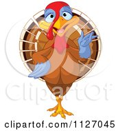 Cartoon Of A Cute Thanksgiving Turkey Bird Presenting Royalty Free Vector Clipart by Pushkin