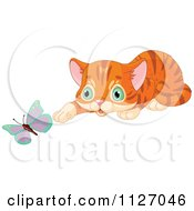Cartoon Of A Cute Curious Ginger Cat Watching A Butterfly Royalty Free Vector Clipart