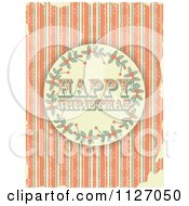 Clipart Of A Retro Happy Christmas Holly Circle On Grungy Orange Stripes And Snowflakes Royalty Free Vector Illustration