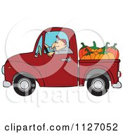 Cartoon Of A Farmer Driving A Truck With Pumpkins In The Bed Royalty Free Vector Clipart