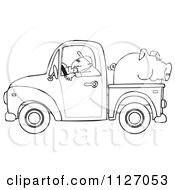 Outlined Farmer Driving A Truck With Pig In The Bed