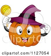 Cartoon Of A Happy Halloween Pumpkin With A Witch Hat And Sucker Royalty Free Vector Clipart