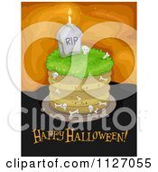 Cartoon Of A Graveyard Cake With Happy Halloween Text Royalty Free Vector Clipart