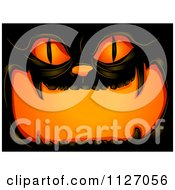 Cartoon Of An Illuminated Cat Jackolantern Halloween Pumpkin Royalty Free Vector Clipart