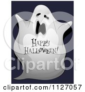 Cartoon Of A Spooky Ghost With Happy Halloween Text Royalty Free Vector Clipart