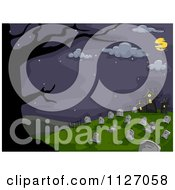Cartoon Of A Full Moon And Bare Tree Framing A Cemetery At Night Royalty Free Vector Clipart