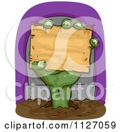 Cartoon Of A Zombie Hand Holding A Wood Sign In Front Of A Tombstone Royalty Free Vector Clipart