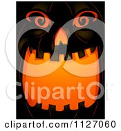 Cartoon Of An Illuminated Open Mouthed Jackolantern Halloween Pumpkin Royalty Free Vector Clipart