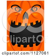 Cartoon Of An Open Mouthed Jackolantern Halloween Pumpkin Royalty Free Vector Clipart