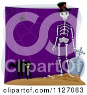 Cartoon Of A Scared Black Cat Spider Web And Skeleton With A Tombstone On Purple Royalty Free Vector Clipart