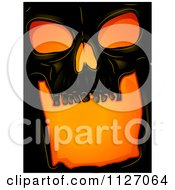 Cartoon Of A Scary Black Human Skull With Orange Lighting Royalty Free Vector Clipart