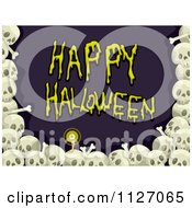 Cartoon Of A Border Of Skulls Around Happy Halloween Text Royalty Free Vector Clipart