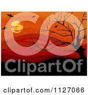 Cartoon Of A Bare Tree And Vampire Bats Against A Red Sky With A Full Moon Royalty Free Vector Clipart