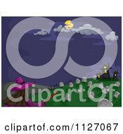 Cartoon Of A Witch Flying Towards A Cemetery Royalty Free Vector Clipart