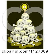 Cartoon Of A Candle Burning On A Stack Of Skulls Royalty Free Vector Clipart