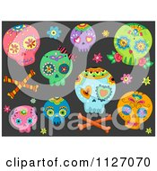 Cartoon Of A Seamless Pattern Of Colorful Sugar Skulls On Black Royalty Free Vector Clipart