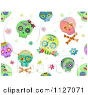 Seamless Pattern Of Colorful Sugar Skulls On White
