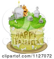 Cartoon Of A Happy Halloween Graveyard Cake Royalty Free Vector Clipart