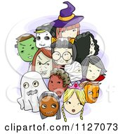 Cartoon Of Halloween Kids Wearing Masks Royalty Free Vector Clipart
