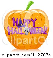 Cartoon Of A Pumpkin With Happy Halloween Text Royalty Free Vector Clipart