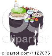 Cartoon Of A Table With Halloween Inspired Cakes And Treats Royalty Free Vector Clipart