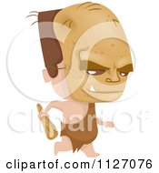 Cartoon Of A Boy In An Orc Costume Running With A Club Royalty Free Vector Clipart