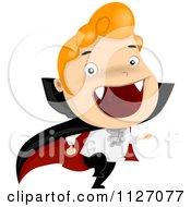 Cartoon Of A Boy Running In A Vampire Costume Royalty Free Vector Clipart