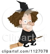 Cartoon Of A Kid In A Witch Costume On A Broomstick Royalty Free Vector Clipart