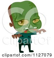 Cartoon Of A Boy In A Zombie Costume Royalty Free Vector Clipart