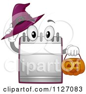 Cartoon Of A Calendar Mascot Holding A Halloween Pumpkin Basket And Witch Hat Royalty Free Vector Clipart