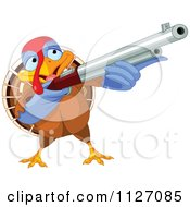 Cartoon Of A Thanksgiving Turkey Bird Shooting A Rifle Royalty Free Vector Clipart by Pushkin