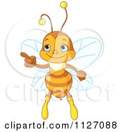 Cartoon Of A Cute Honey Bee Pointing Royalty Free Vector Clipart by Pushkin