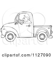 Cartoon Of An Outlined Worker Driving A Truck Royalty Free Vector Clipart