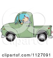 Cartoon Of A Worker Driving A Green Truck Royalty Free Vector Clipart