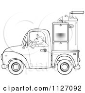 Cartoon Of An Outlined Worker Driving A Truck With A Furnace In The Bed Royalty Free Vector Clipart