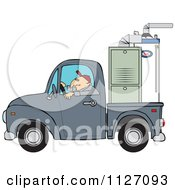Cartoon Of A Worker Driving A Truck With A Furnace In The Bed Royalty Free Vector Clipart