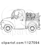 Cartoon Of An Outlined Farmer Driving A Truck With Corn In The Bed Royalty Free Vector Clipart