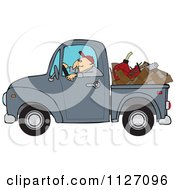 Cartoon Of A Worker Driving A Truck With Firewood Gasoline And A Saw In The Bed Royalty Free Vector Clipart