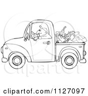 Cartoon Of An Outlined Worker Driving A Truck With Firewood Gasoline And A Saw In The Bed Royalty Free Vector Clipart