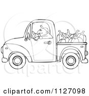 Cartoon Of An Outlined Farmer Driving A Truck With Pumpkins In The Bed Royalty Free Vector Clipart