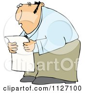 Cartoon Of A Chubby Man Reading A Newspaper In Shock Royalty Free Vector Clipart by djart