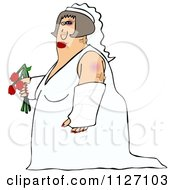 Cartoon Of A Battered Wife Bride With Bruises A Black Eye And Cast Royalty Free Clipart