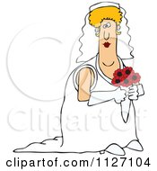 Happy Blond Bride Carrying Her Bouquet